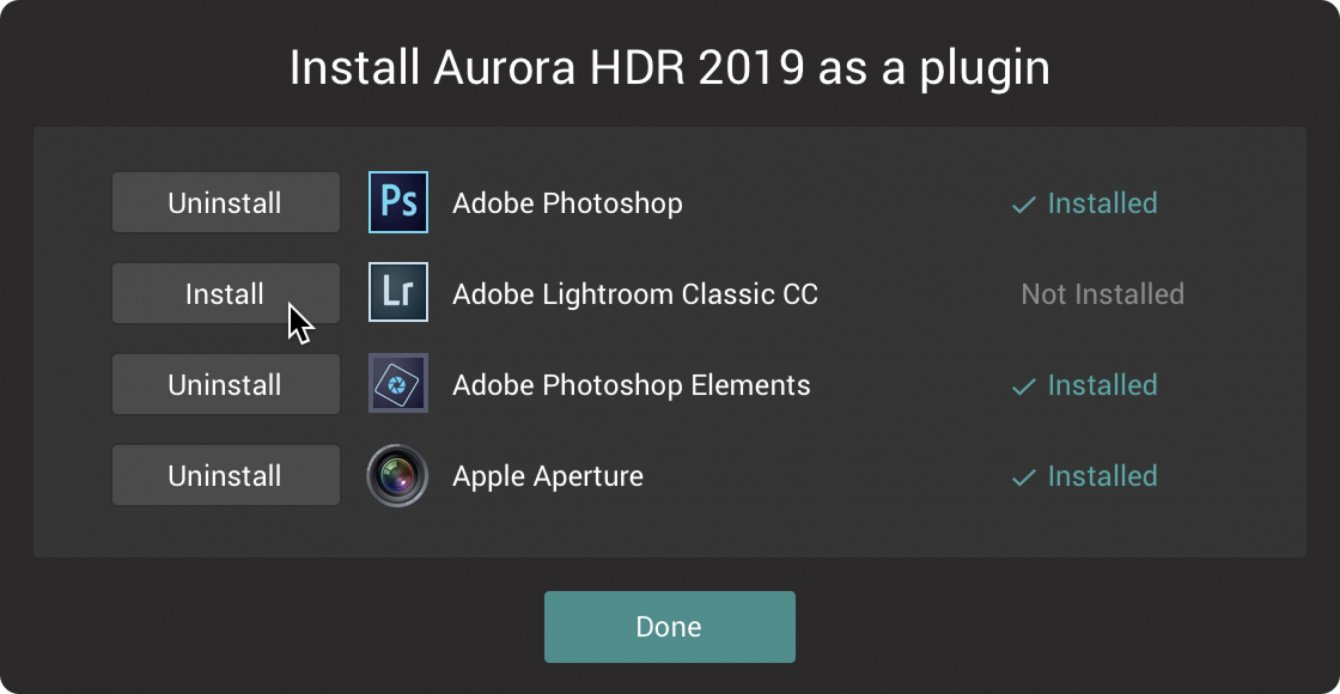Installing Aurora HDR 2019 as a Plugin